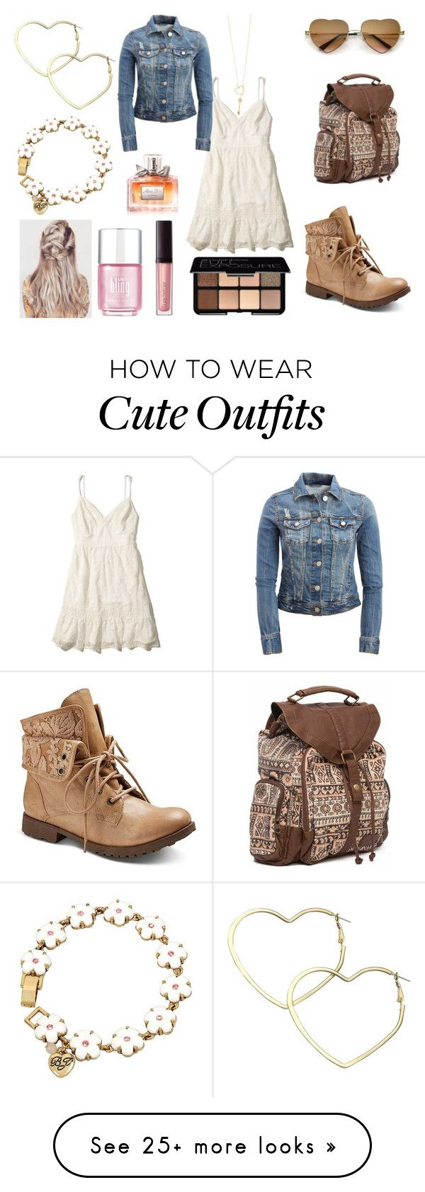 """""""Cute Girly Outfit"""" by holly32196-1 on Polyvore featuring Hollister Co., Z London, Aéropostale, Billabong, Accessorize, Thalia Sodi, Betsey Johnson, Laura Mercier, Smashbox and Christian Dior"""