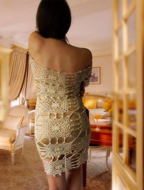 GORGEOUS Crochet Dress. Long-sleeved dress. Wedding dress. Lace dress. Short dress. Mini dress. Beach cover up. Long sleeve. Knit dress by NinElDesign on Etsy