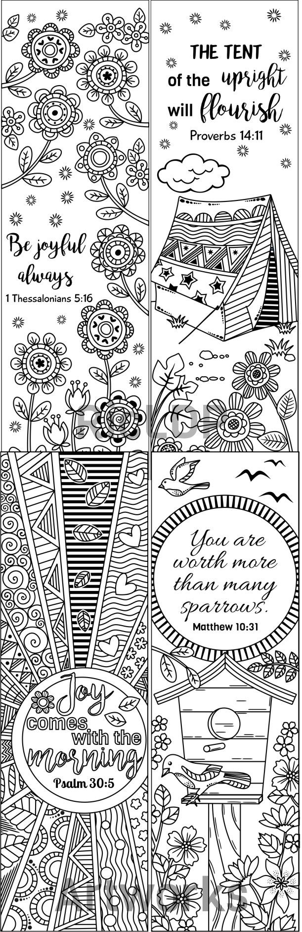 Religious bookmarks to color - 8 Printable Bible Verse Coloring Bookmarks Coloring Doodle Bookmarks With Inspiring Bible Verses