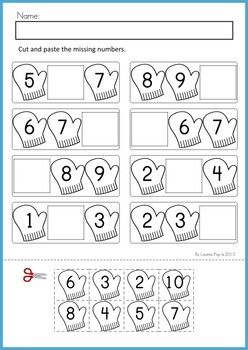 Math Worksheets  Activities - Winter (Beginning Skills). 43 pages. A page from the unit: Missing numbers cut and paste (1-20).