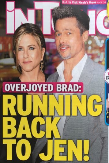 """Brad Pitt is not """"running back"""" to Jennifer Aniston, despite a tabloid cover story. One year after Angelina Jolie filed for divorce, this tired love triangle narrative is being revived. But Gossip Cop can exclusively bust the baseless report.  The new cover of In Touch exclaims, """"Overjoyed Brad: R"""