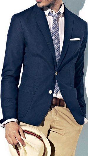 Dark Blue / Navy Blazer . White Oxford Shirt . Navy Check Tie . Brown Belt . Camel / Tan Chinos