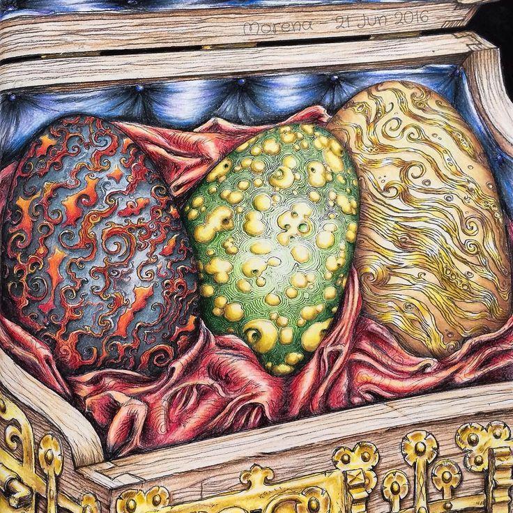 Coloured By Morena VajakUnhatched Drogon Rhaegal And Viserion Daenaryss Wedding Present A Game Of Thrones Colouring Book Illustration John Howe