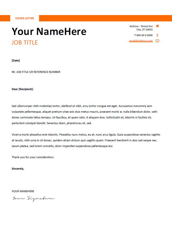 Free clean and simple cover letter template for Word (DOCX) - Orange