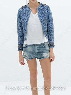 Light Blue Button Fly Pockets Denim Shorts -$22.59
