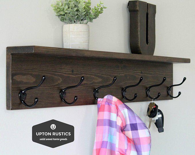 42 To 60 Inch Coat Rack With Shelf Coat Rack Wall Mount Rustic Etsy Coat Rack Wall Wall Shelf With Hooks Wall Mounted Coat Rack