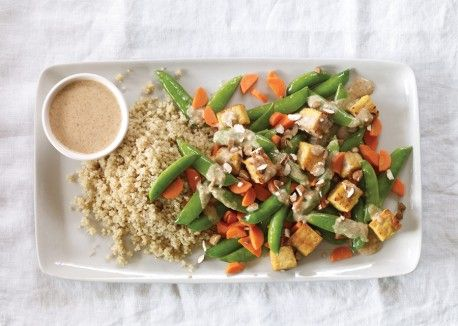 Peas, Carrots and Tempeh with Miso-Almond Sauce