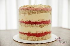 Drool worthy Strawberry Lemon Layer Cake, recipe by Christina Tosi (Momofuku Milk Bar). © 2015 Sugar + Shake