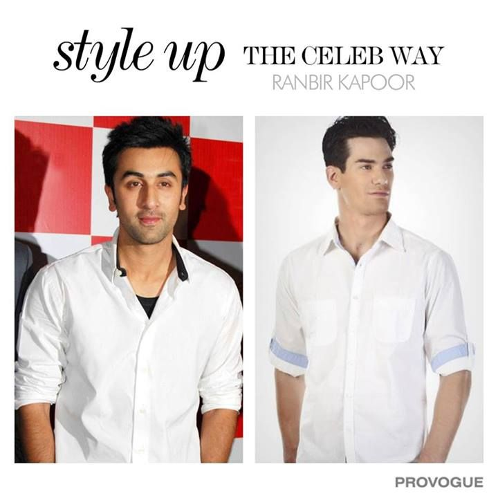 Ranbir Kapoor looks classy in this white shirt!  Thinking to buy one?   Here's your white shirt - www.provogue.com