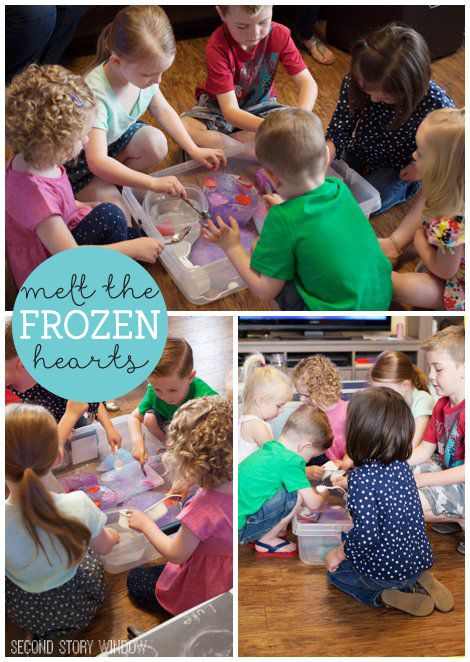 Toddler frozen party activities. I liked: Melt the frozen hearts and instasnow sensory bin.