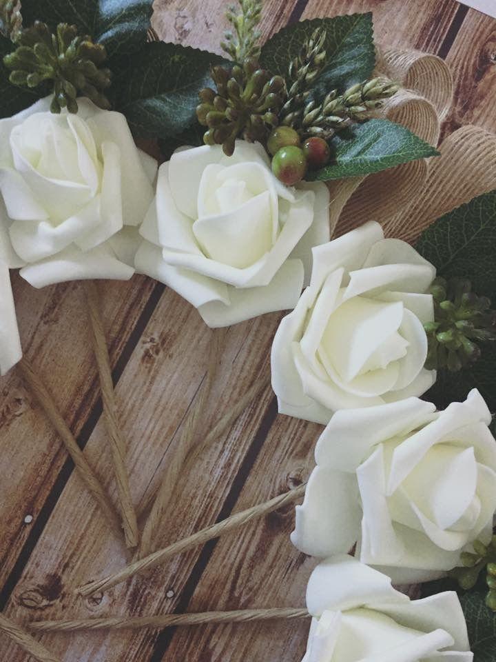 Handmade rustic ivory Rose wedding pinholes