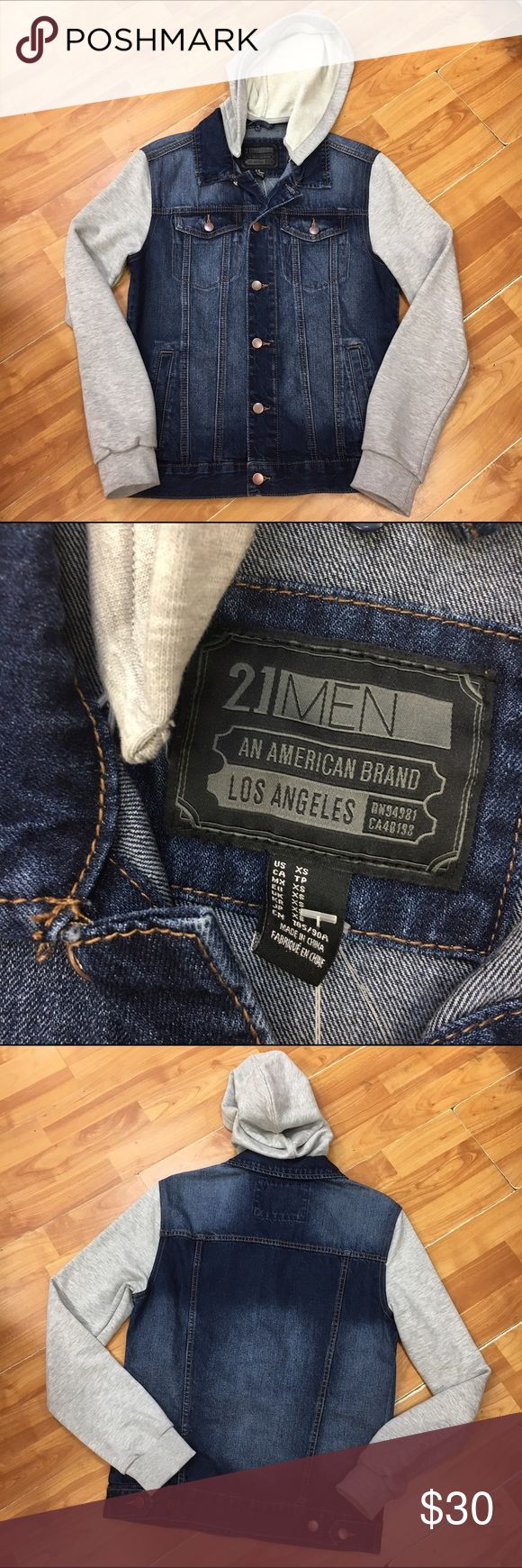 21Men Forever 21 Jean Jacket Detachable Hood NEW 21Men Forever 21 Jean Jacket Detachable Hood NEW NWT XS  New, with tags from Forever 21.  Casual jacket, denim & heather gray hood which is detachable.  #new #nwt #jacket #denim #hood #blue #jeanjacket #forever21 #21men 21men Jackets & Coats