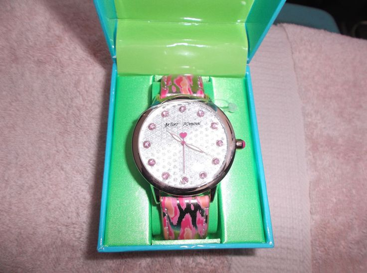 Betsey Johnson Pink Gold Camoflauge Crystal Oversized  Watch BJ00063*06 Last One #BetseyJohnson #Fashion #watch
