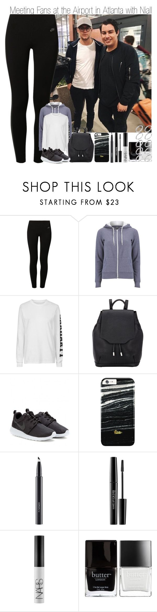 """""""Meeting Fans at the Airport in Atlanta with Niall"""" by elise-22 ❤ liked on Polyvore featuring NIKE, Brave Soul, Topshop, rag & bone, MAC Cosmetics, MAKE UP FOR EVER, NARS Cosmetics, Butter London and ASOS"""