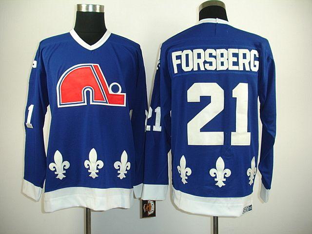 NHL Quebec Nordiques #21 Peter FORSBERG CCM Vintage Hockey Jersey - Navy Blue