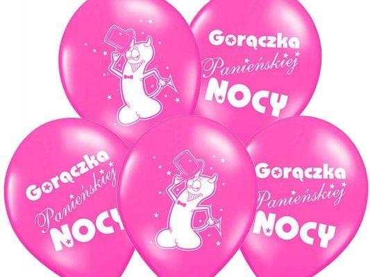 Balon lateksowy z zabawnym nadrukiem oraz napisem Gorączka Panieńskiej Nocy w kolorze różowym. Doskonała dekoracja na wieczór panieński.
