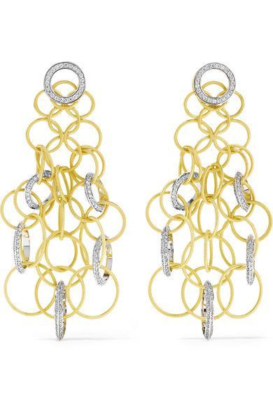 Buccellati - Hawaii 18-karat Yellow And White Gold Diamond Earrings - one size