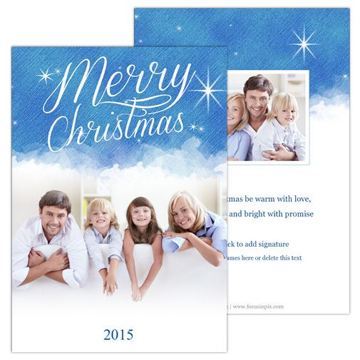 Sky and Stars (5×7 2-Sided) Holiday Christmas Photo Card template from Focus in Pix.