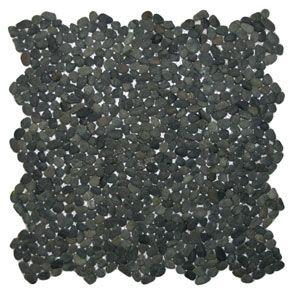 Mini Charcoal Black Pebble Tile - Subway Tile Outlet (Shower floor)