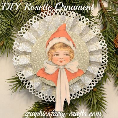 Rosette holiday ornament tutorial - The Graphics Fairy - Crafts:  #Reasonably simple ornament or package decoration suitable for Lorraine to make#