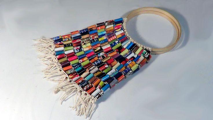 DIY - Bolsa de rolinhos de revista - Handbag with rolls magazine - Bolsa con rollos de revistas - YouTube