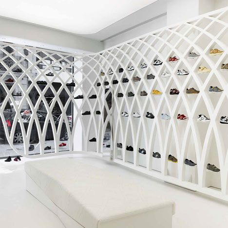 Ultimate Shoe Display by Dear Design for a shop in Valencia. (Maybe an inspiration for shoe storage?)