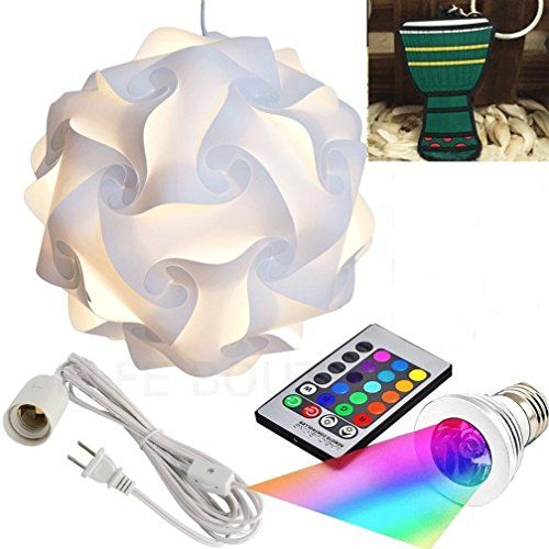 Puzzle Lights with Lamp Cord Kits and Remote Control Bulb, Self DIY Assembled Puzzle Lights Mordem Lampshade IQ Lamp Shades M Size Home Decor Light (White Lampshade +Remote Control Bulb+Cord)
