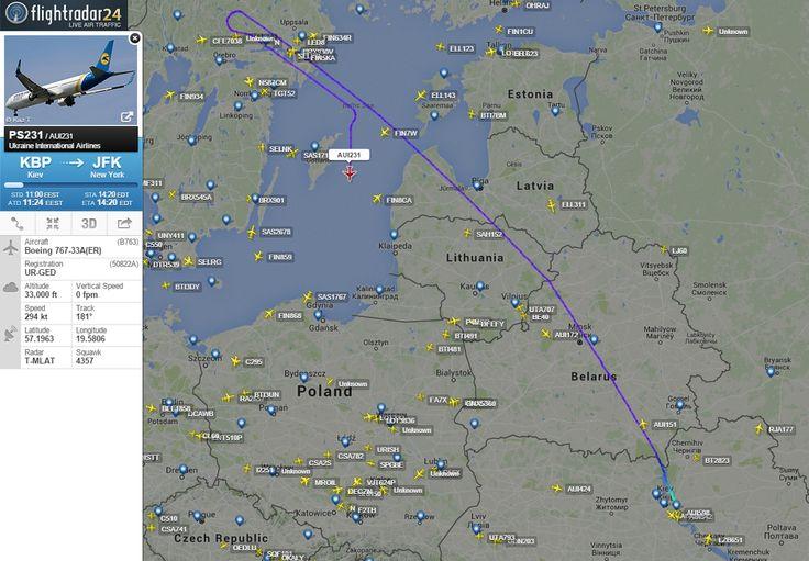 Ukraine International Airlines flight #PS231 from Kiev to New York made a U-turn. http://www.flightradar24.com/AUI231/7a6f04e