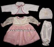 Costum de botez cu rochita, bolero si turban ELEGANCE