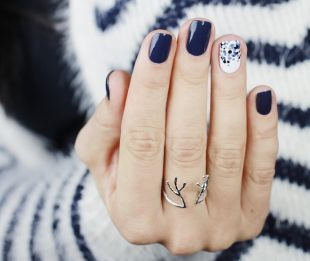 Tiny nail designs, dark blue feng shui manicure on short nails