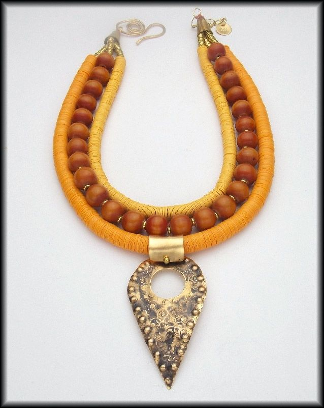 African Tribal Jewelry for Women | ... Made Sahara - Handforged Pendant - African Beads Tribal Style Necklace