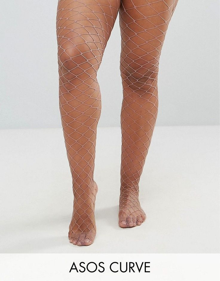 ASOS CURVE Oversized Fishnet Tights in Mauve - Purple