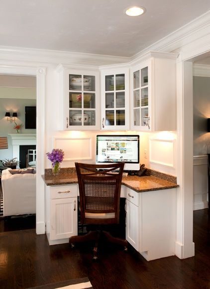 Love, love, love this corner desk/computer area in the kitchen for meal planning