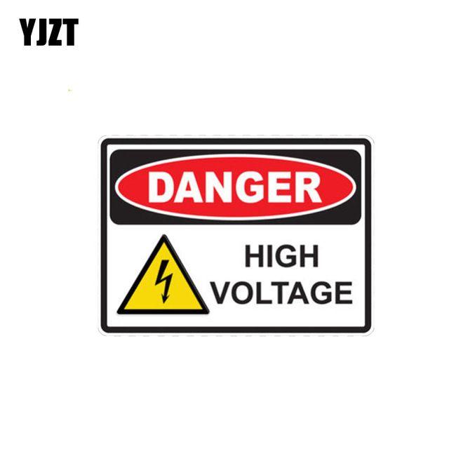 Yjzt 13 9cm 10cm Car Sticker Danger High Voltage Creative Funny Pvc Decal 12 0391 Review Car Stickers Stickers Pvc