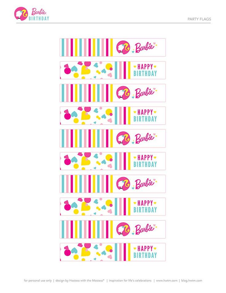 Barbie Party Flags by HWTM