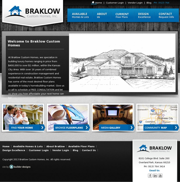 Braklow Custom Homes | Website Design