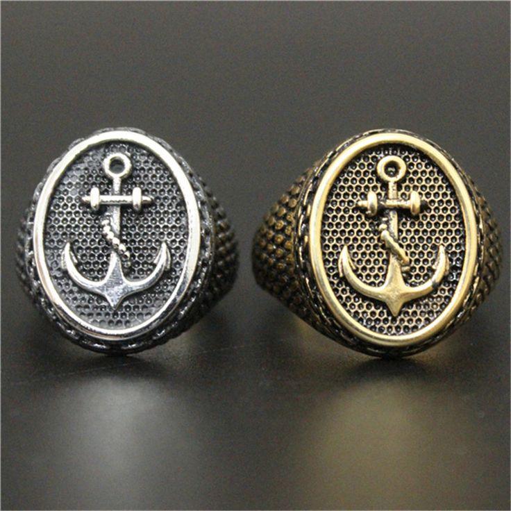 1 шт. новое поступление золотой якорь кольцо нержавеющей стали 316L человек мальчик байкер стиль прохладный кольцо