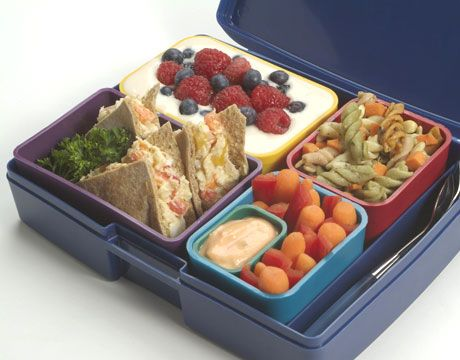 """laptop lunch boxes"" are BPA-free with lots of little containers to cut down on plastic bag use"