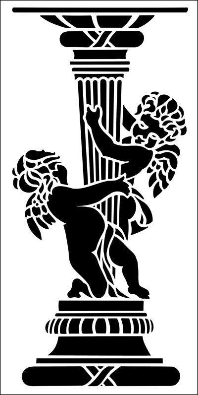 Pedestal No 5 stencil from The Stencil Library ARCHITECTURE range. Buy stencils online. Stencil code AR61.