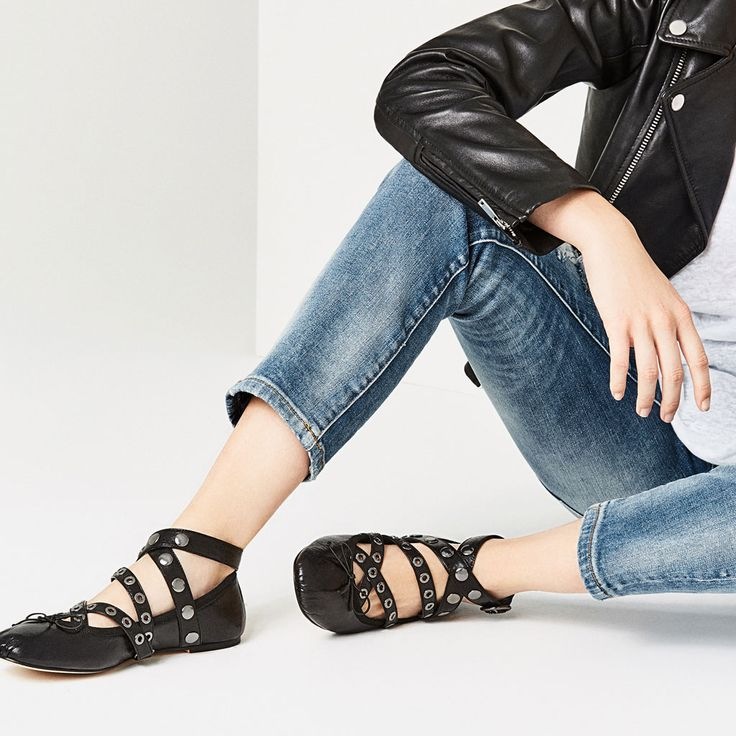 LEATHER BALLET FLATS WITH STRAPS AND STUDS-Flats-SHOES-WOMAN | ZARA United States