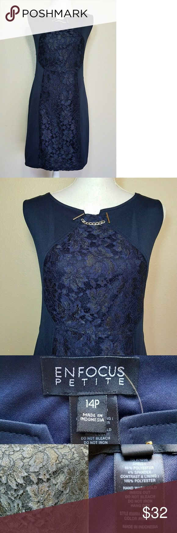 """ENFOCUS Petite Dress Lace Center Navy 14P ENFOCUS Petite Womens Dress Lace Block Center Sleeveless Navy Size 14 14P   Style:Sheath  Type:Dress  Brand:ENFOCUS Petite  Size:14P  Material:96% Polyester 4% Spandex LACE: 100% Polyester  Color:Navy  Measurements:  Chest - Armpit to armpit across Front: 19""""Approx Waist - Right seam to left seam: 17.5""""Approx Length - Shoulder seam to Hem Line: 35""""Approx  Sleeve:Sleeveless  Details:Lace block at the center, small silver chain detail at…"""