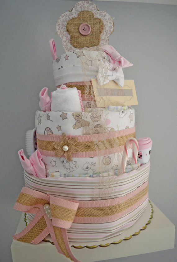 Diaper cake. Pink. Baby girl. Baby shower by Maraisjwls on Etsy