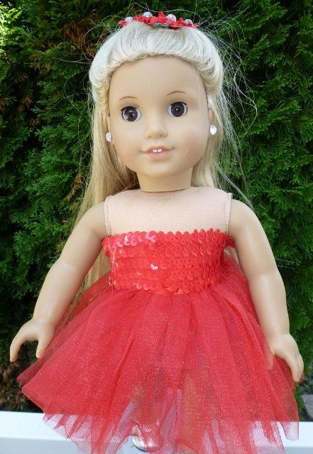 American Girl Doll  Red Party Sequin Tu Tu and by ArtsyTreats, $14.00