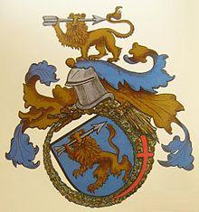Csapy András címere a sárkányrend jelvényével (1414)