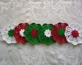 $12 #crochet #gift #home #design #handmade #coaster #red #green #white