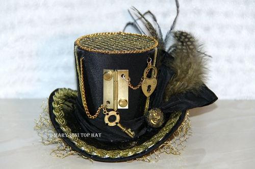 Black Gold Mini Top Hat Steampunk Gothic Burlesque Punk Vintage Corset Key Lock | eBay