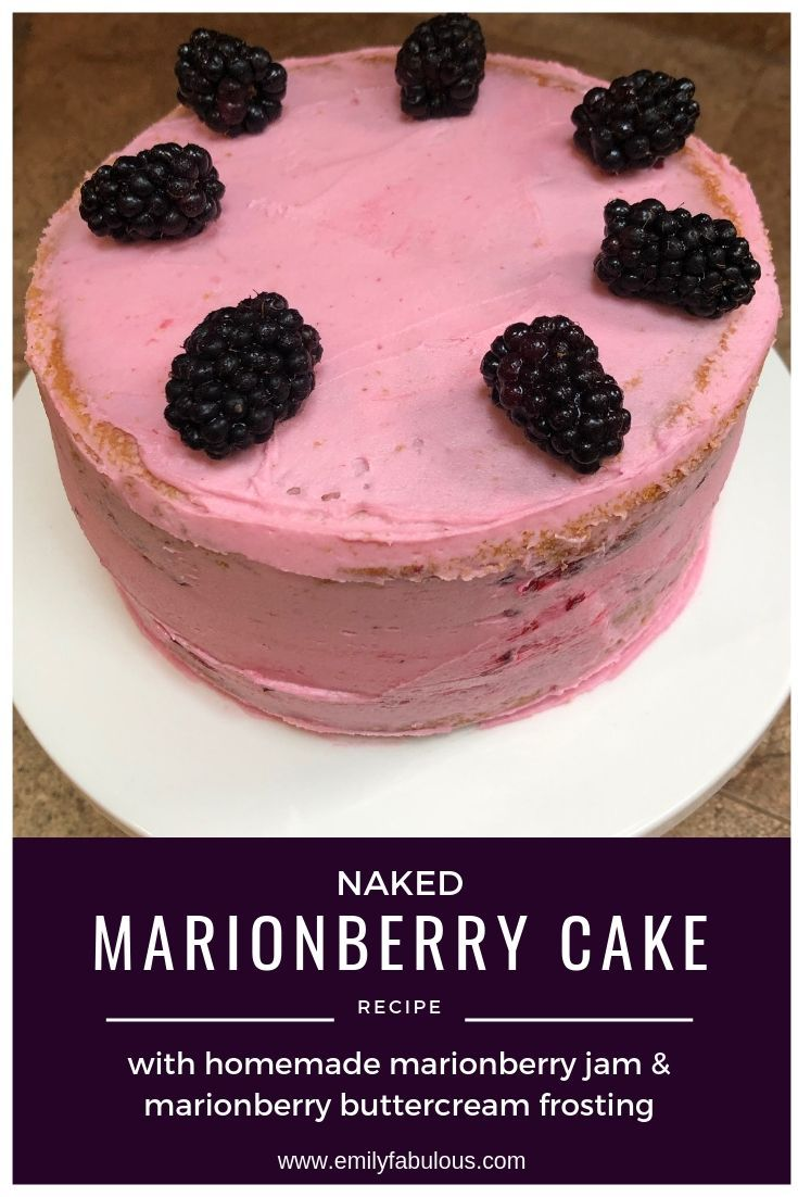 Homemade Naked Marionberry Cake filled with marionberry jam and frosted with marionberry buttercream! This cake is dense…