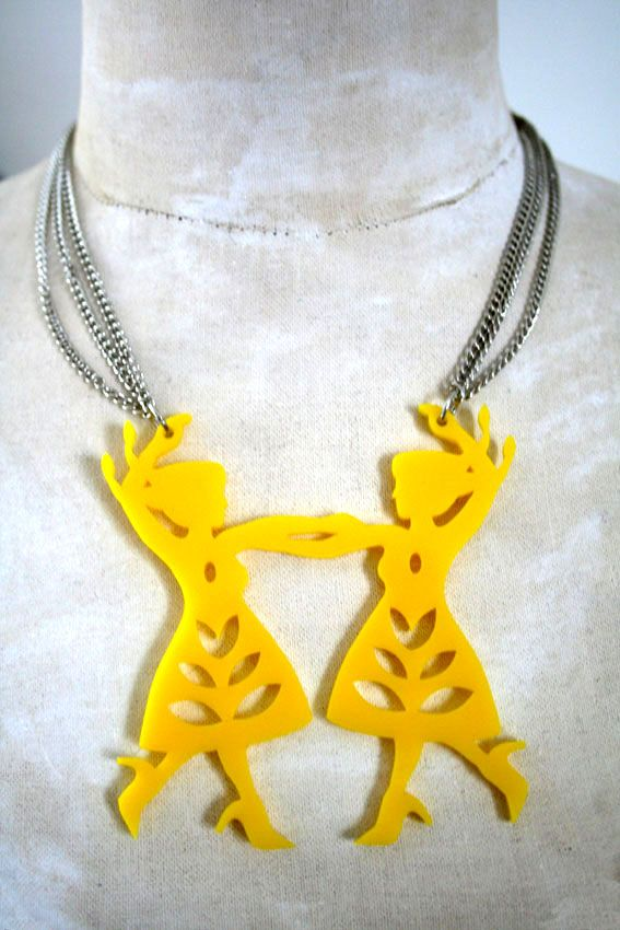 Dancing girls pendant - Polish Folk Art inspired http://doiknowyoustore.bigcartel.com/product/yellow-polka-dance-necklace