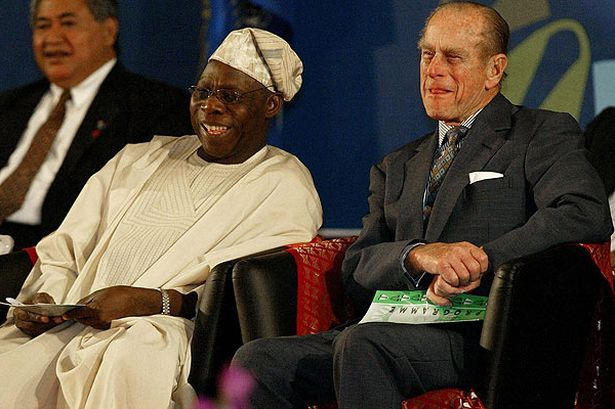 You look like you're ready for bed! Prince Philip with the President of Nigeria