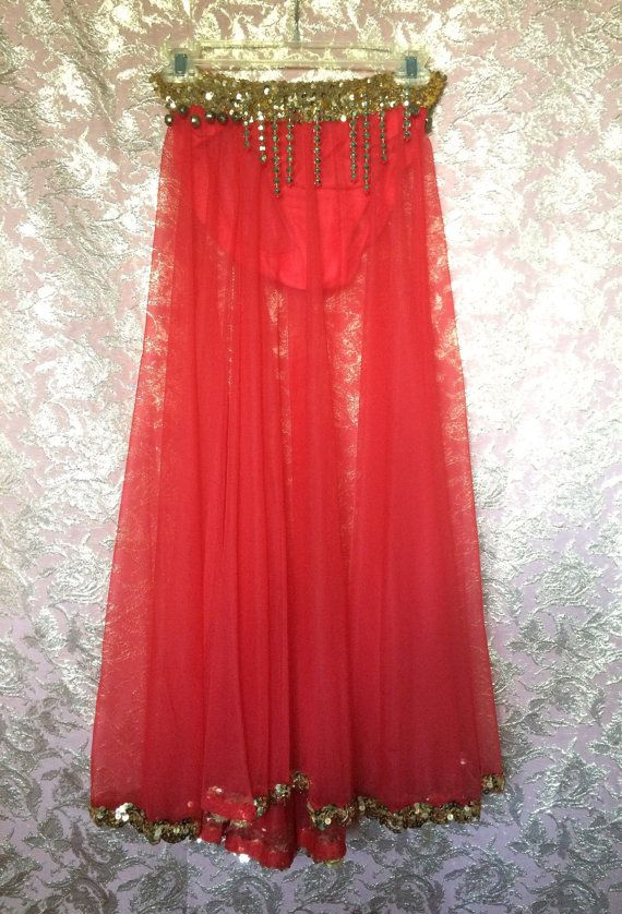 HAREM 1960's Frederick's of Hollywood Red amd Gold Sequined Skirt